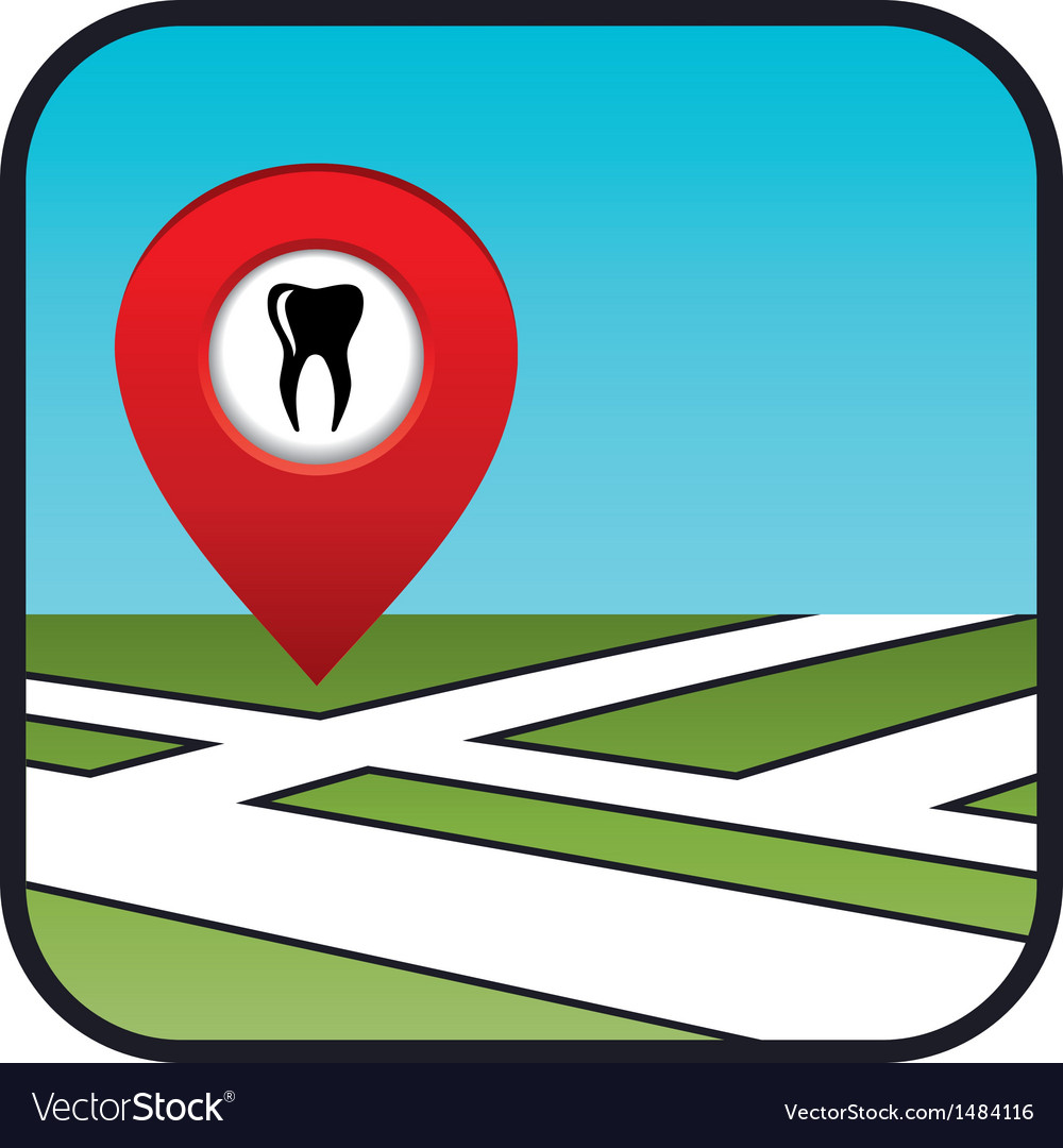 Street map icon with the pointer dental services vector