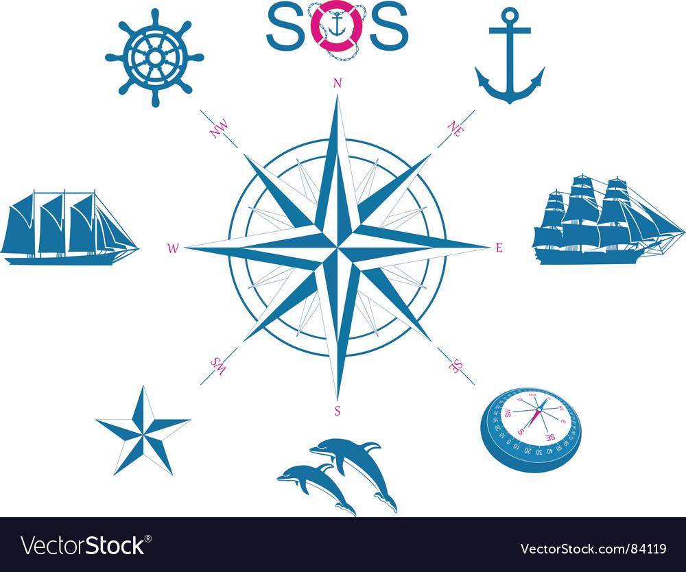Set of nautical symbols vector