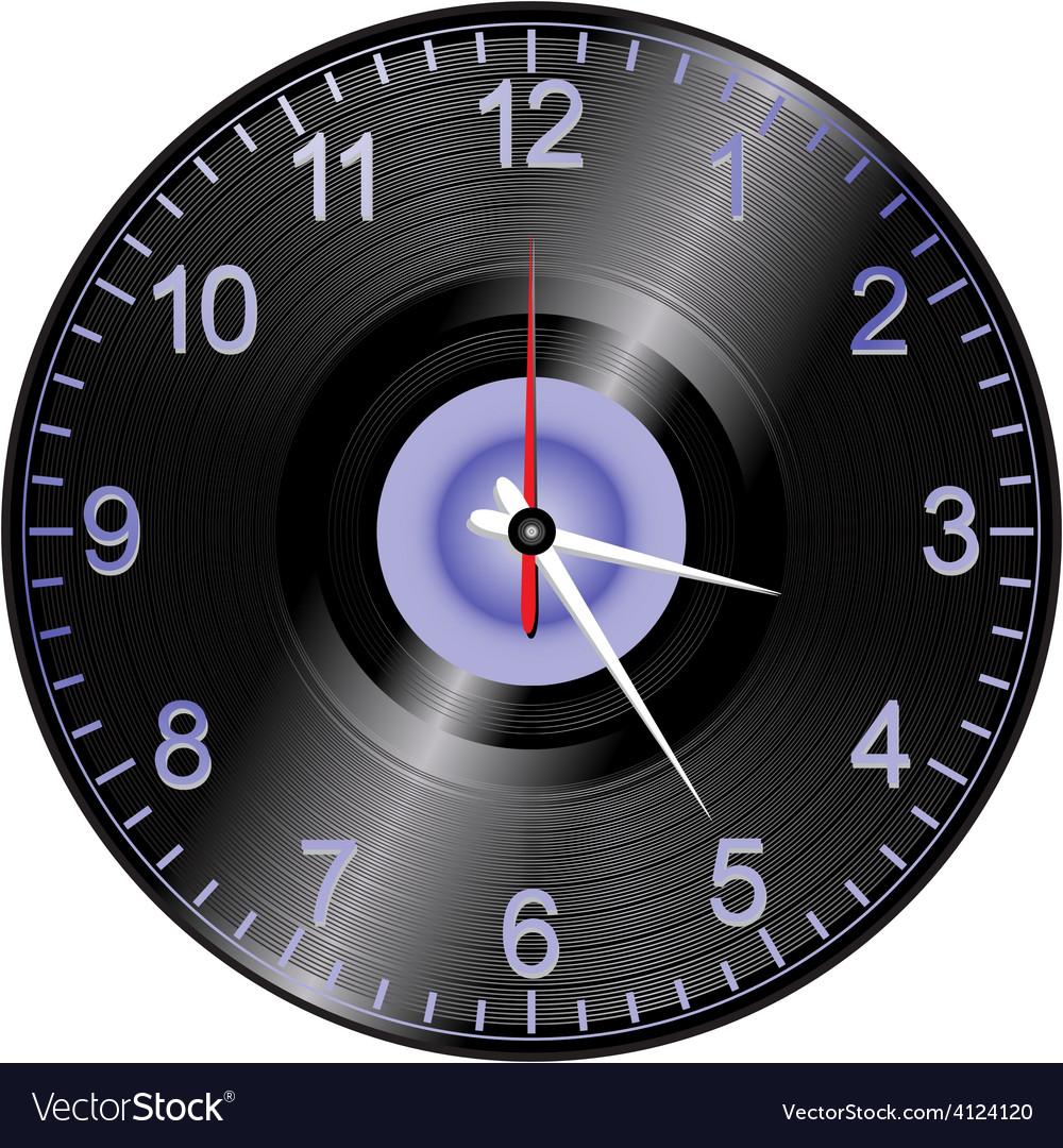 Vinyl record clock vector