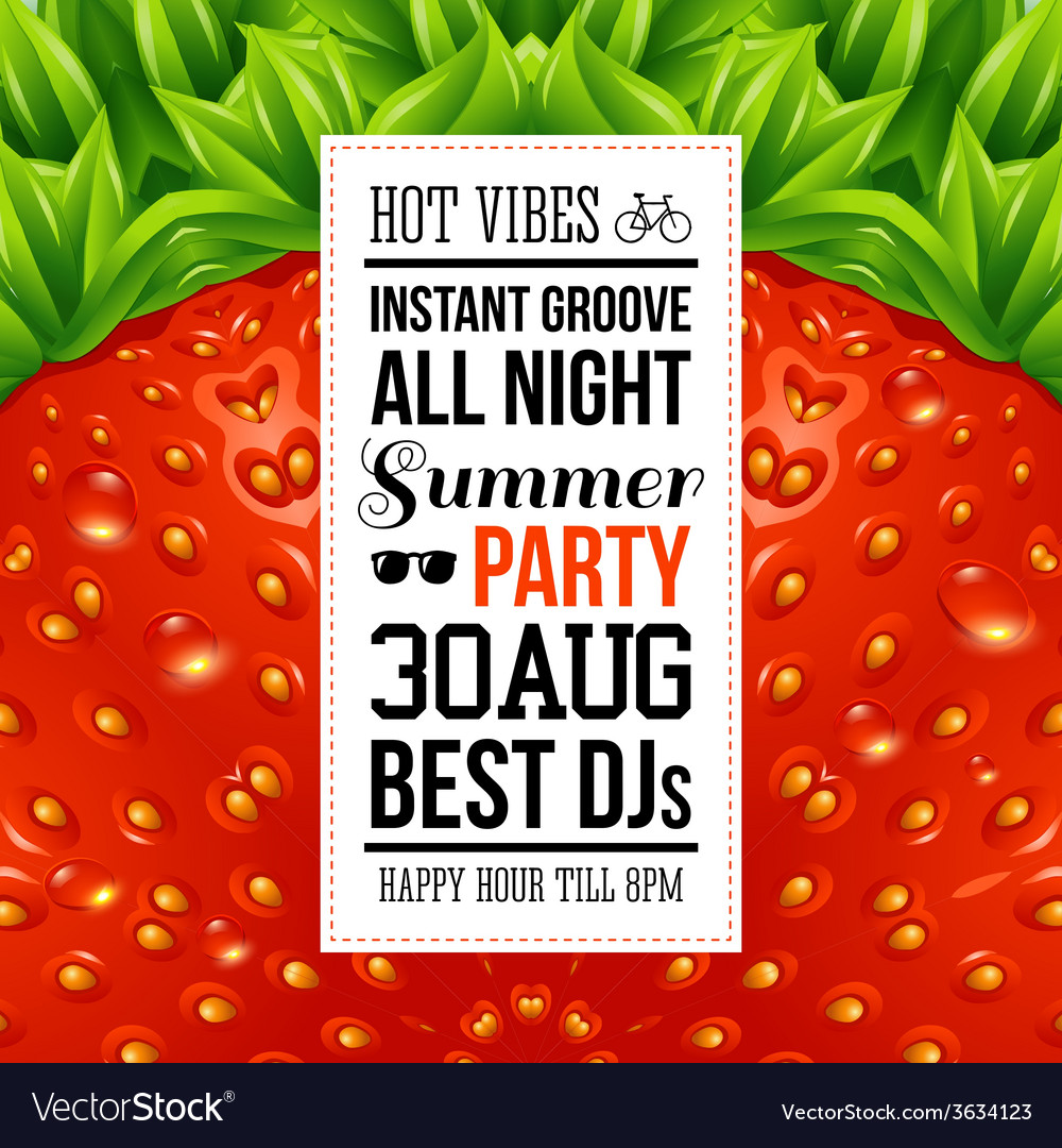 Juicy summer party poster optical strawberry vector