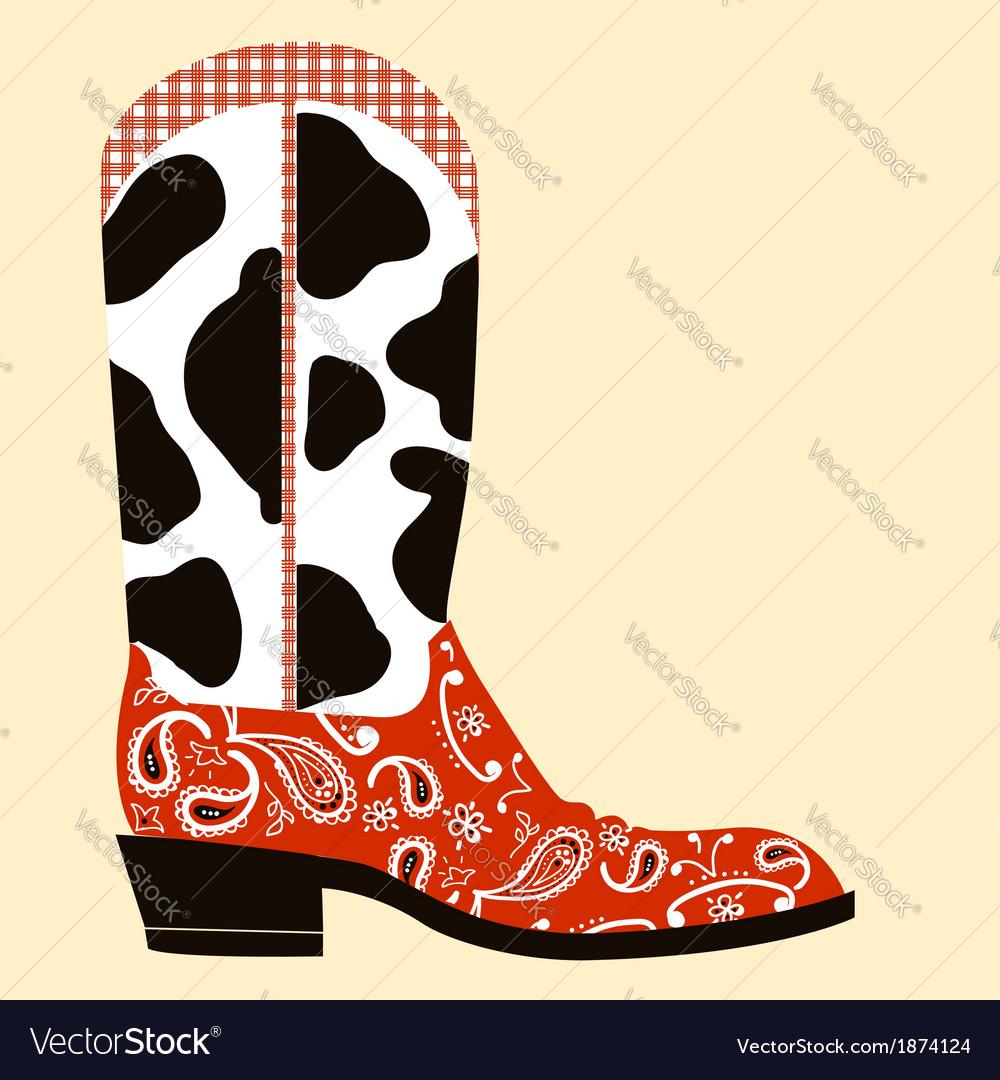 Cowboy boot decorationwestern symbol vector