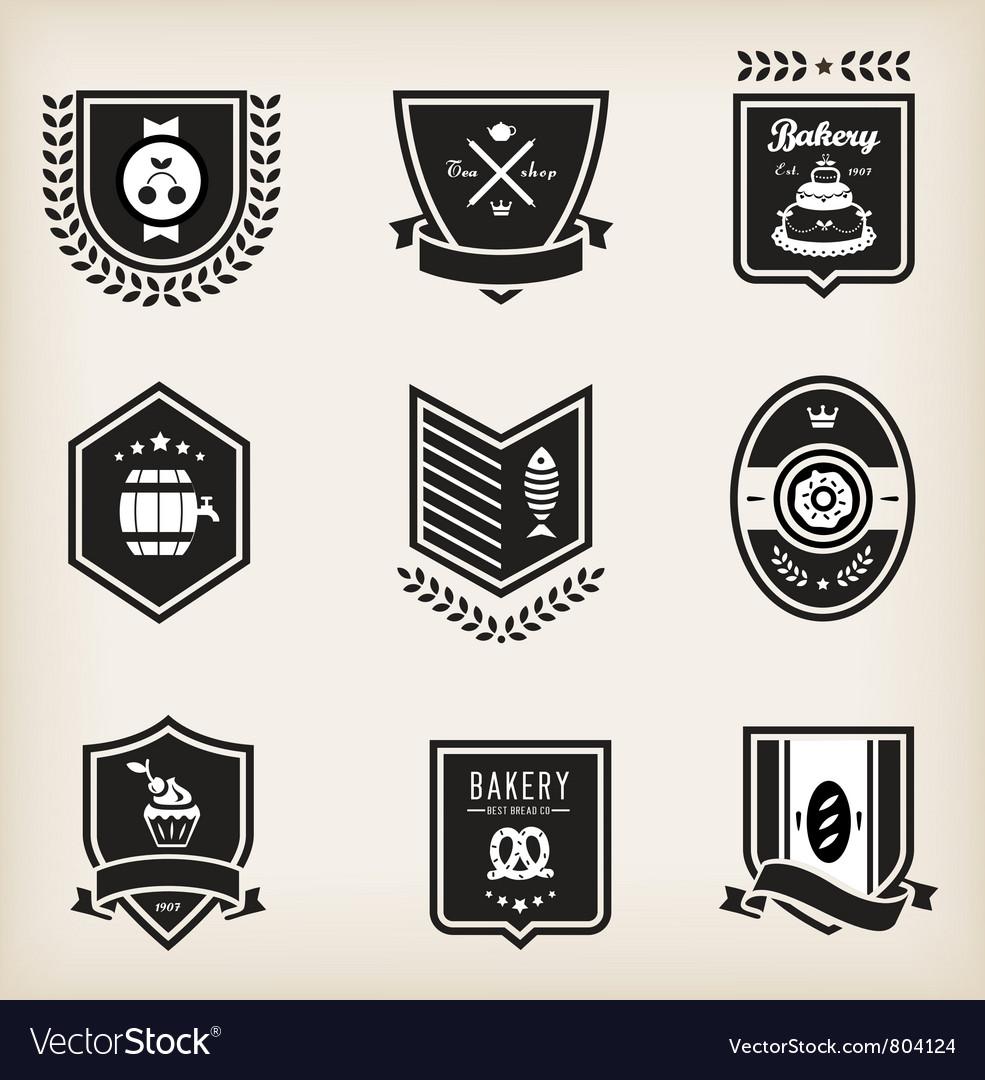 Food emblems vector