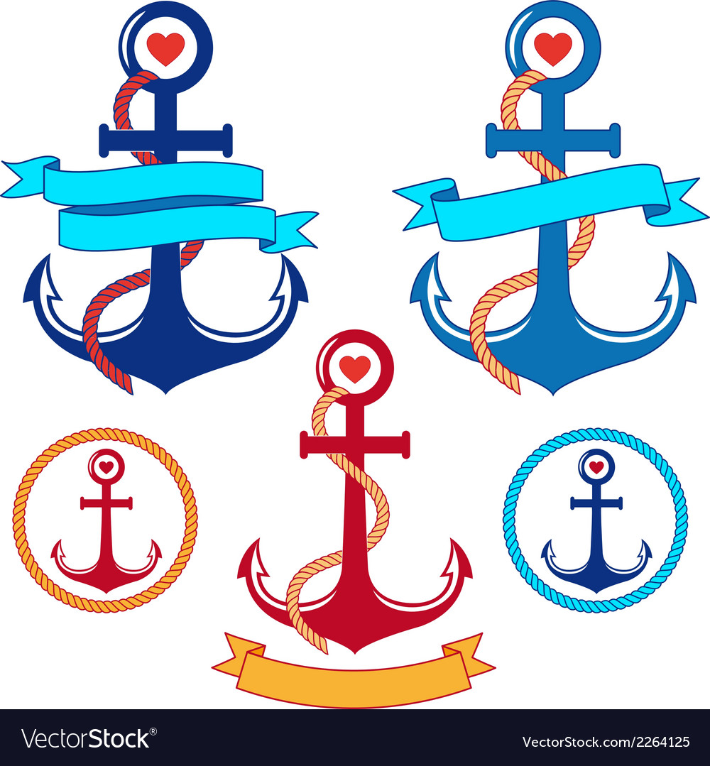 Anchors with ribbons and frames set vector