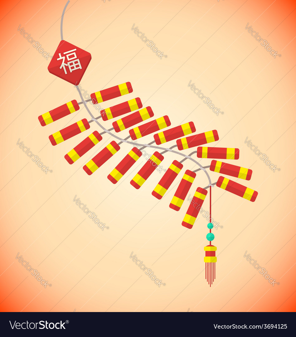 Flat style chinese new year firecrackers vector