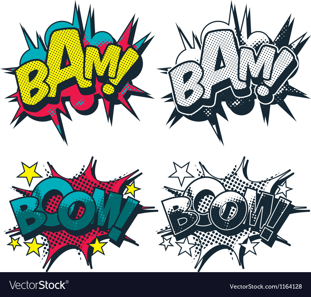 Bam boom comic style graphic vector