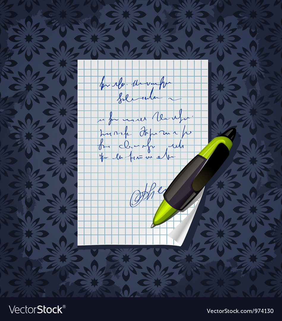 Blank note paper with green pen vector