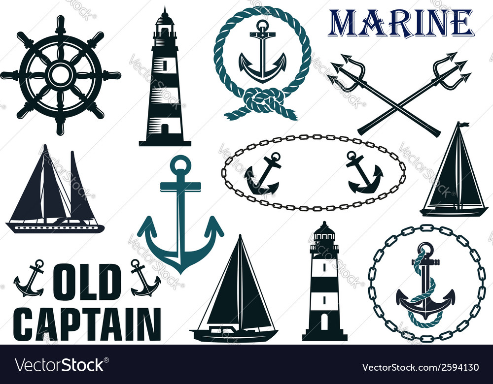 Marine heraldic elements set vector