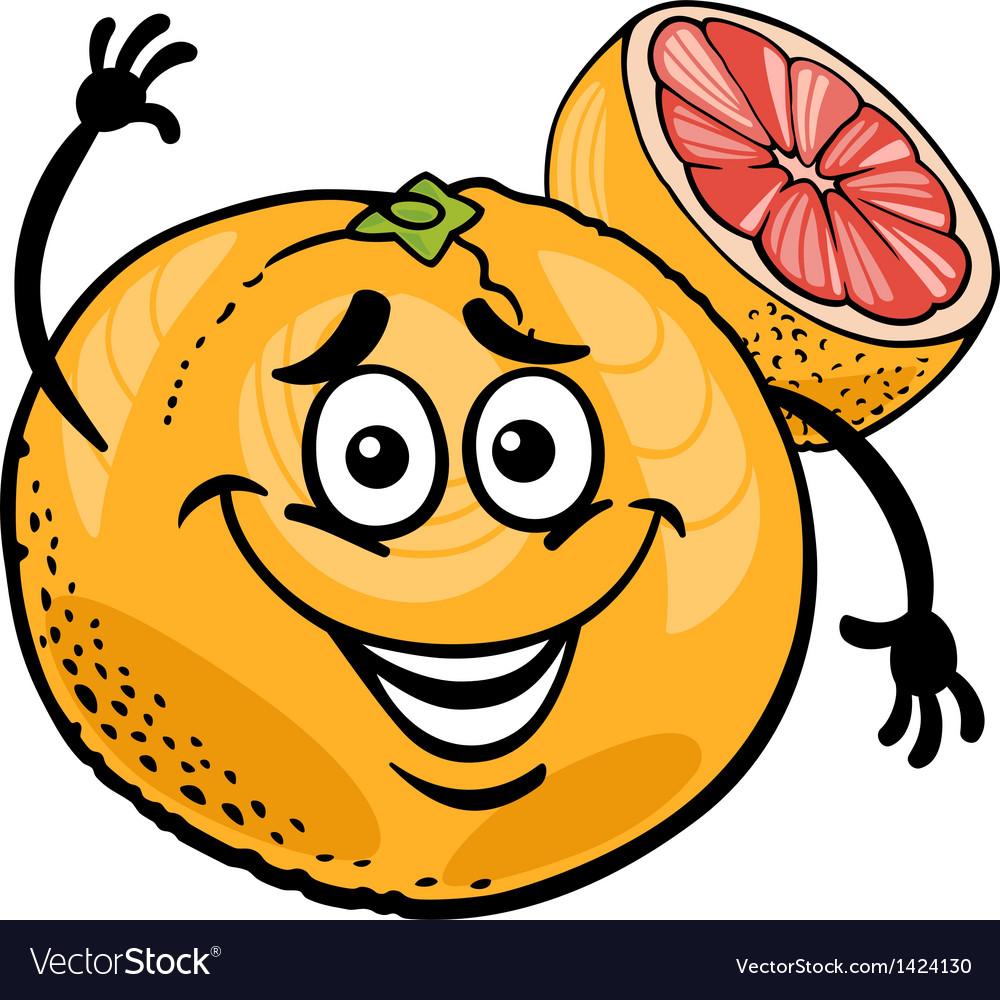 Red grapefruit fruit cartoon vector