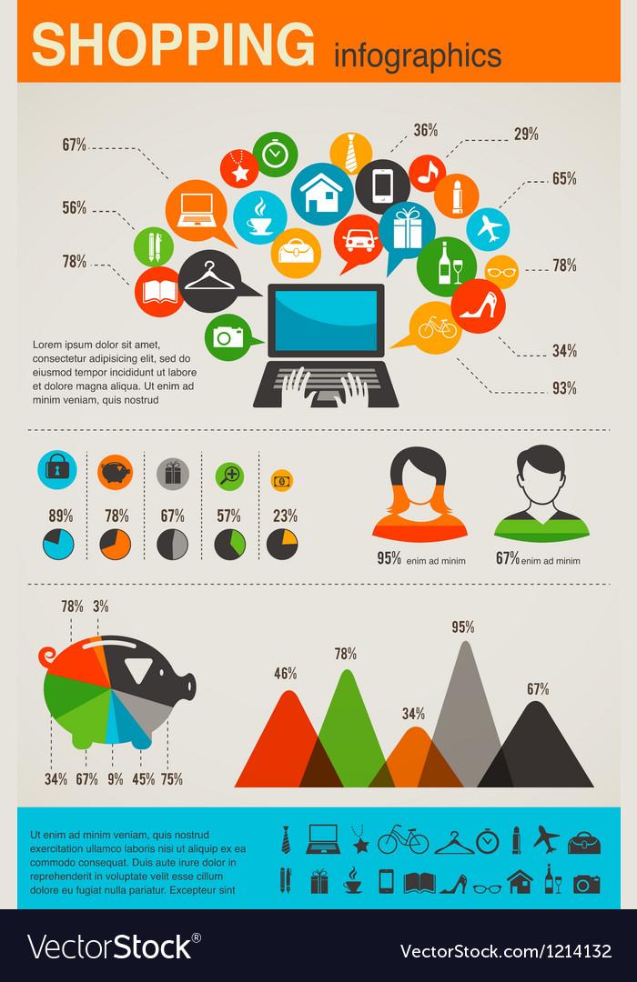 Shopping infographics set retro style design vector