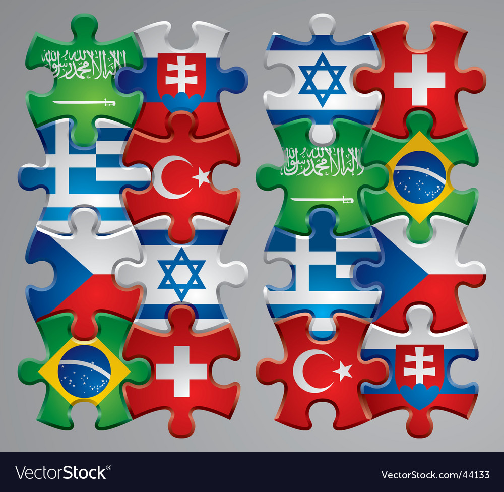 Puzzle flag icons vector