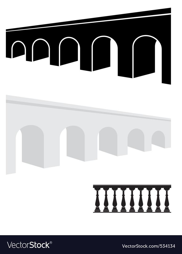 Stone bridge and balustrade vector