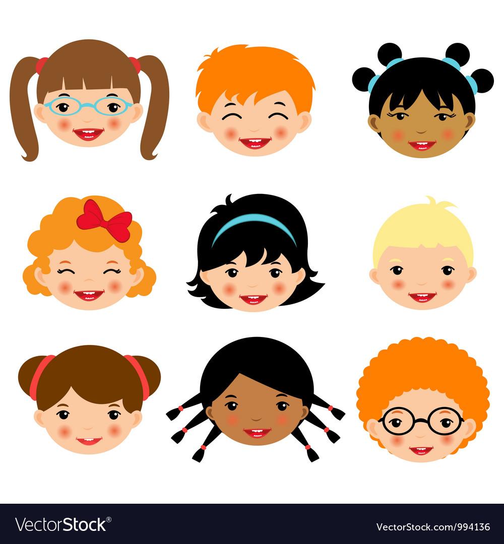Kids faces 2 vector