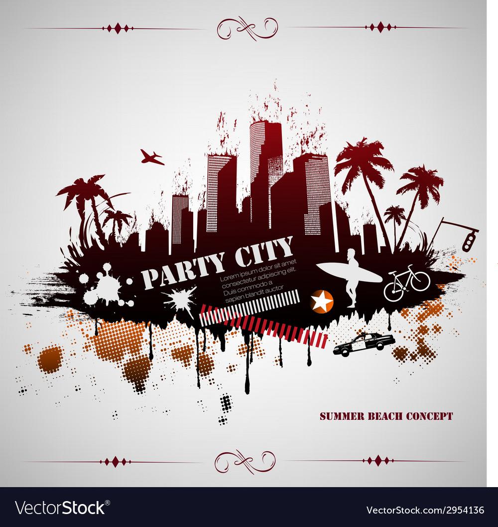 Summer beach concept downtown party city vector