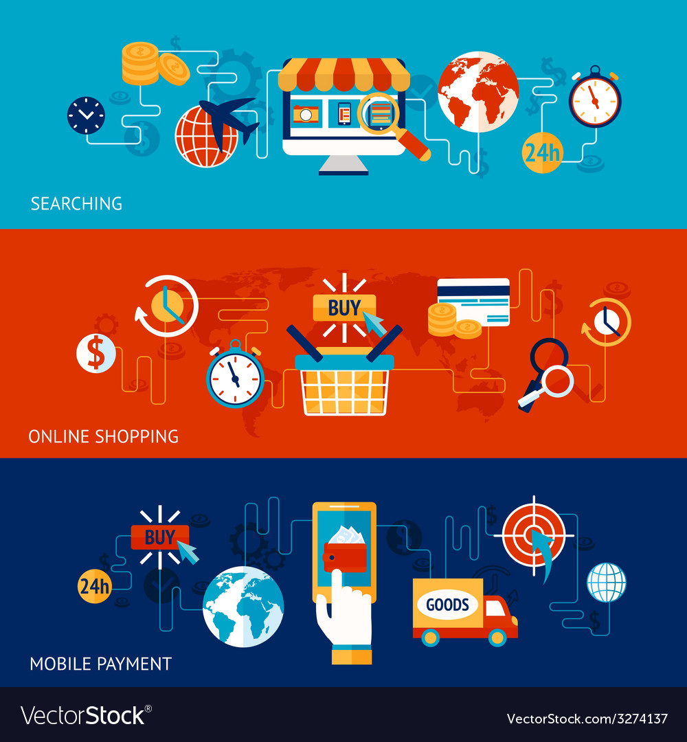 Online shopping banner set vector