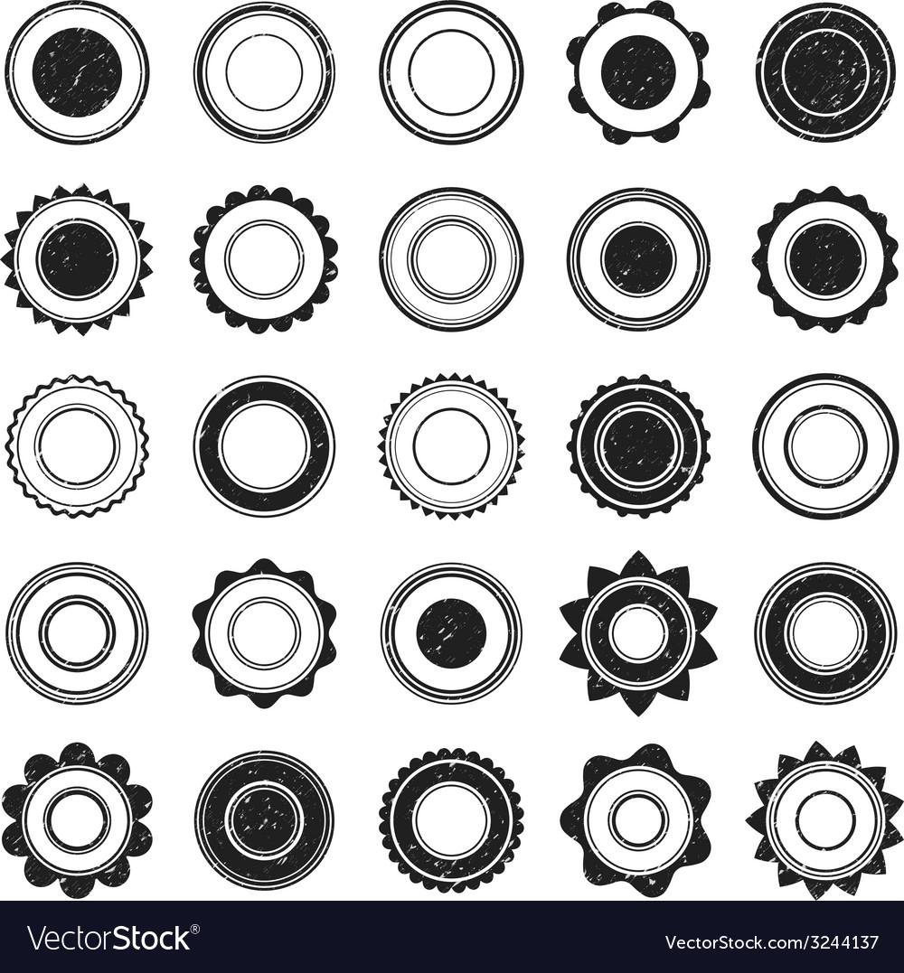Set of black grunge stamp round shapes vector