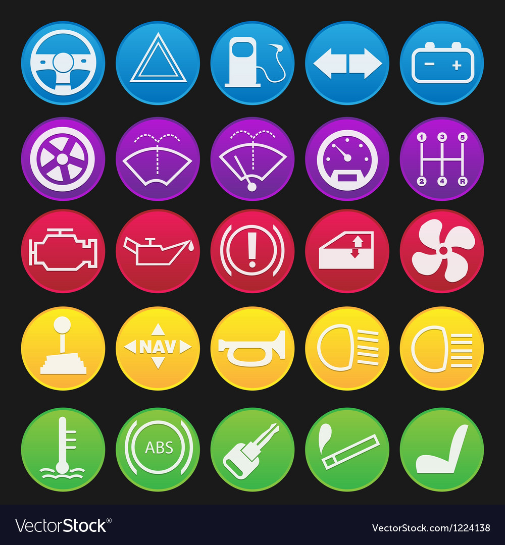Car dashboard icon set gradient vector