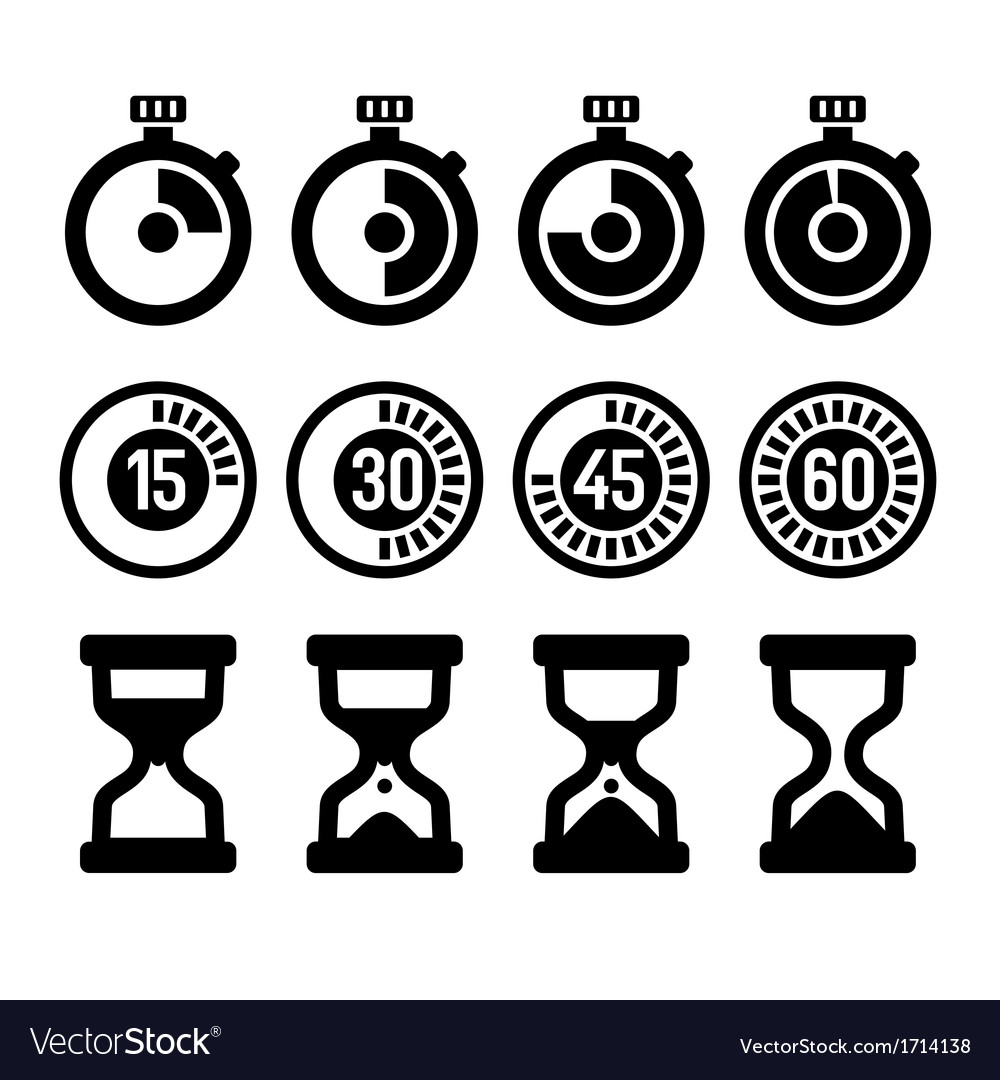 Timers icons set vector