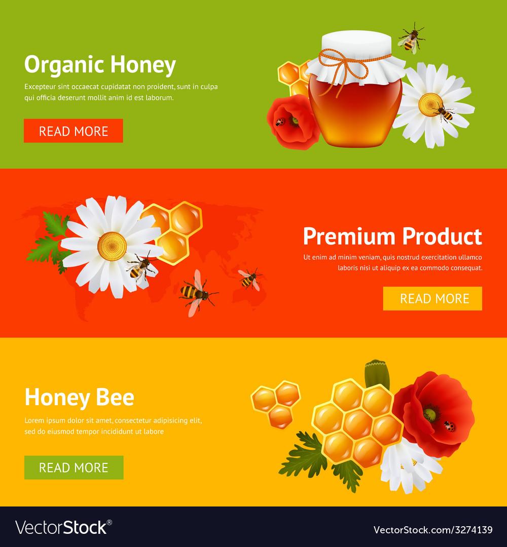 Honey banner set vector