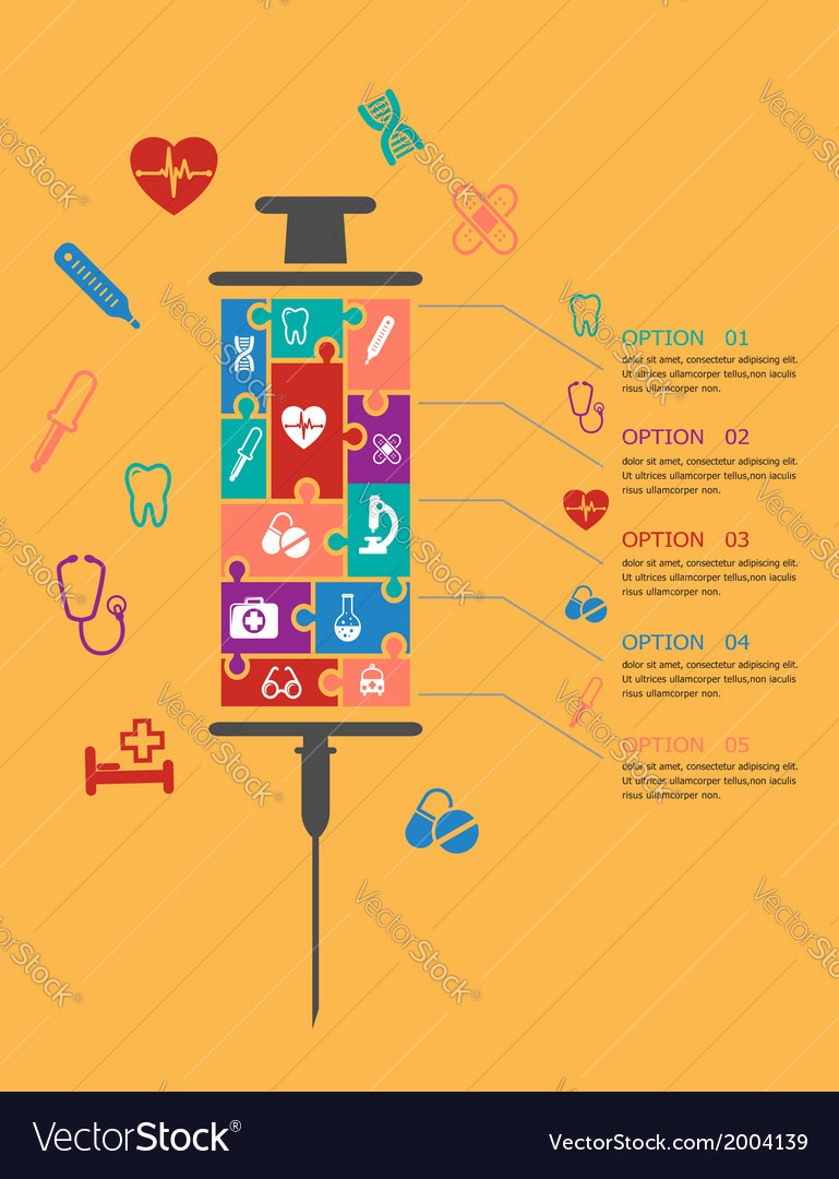 Medicine and healthcare infographic elements vector