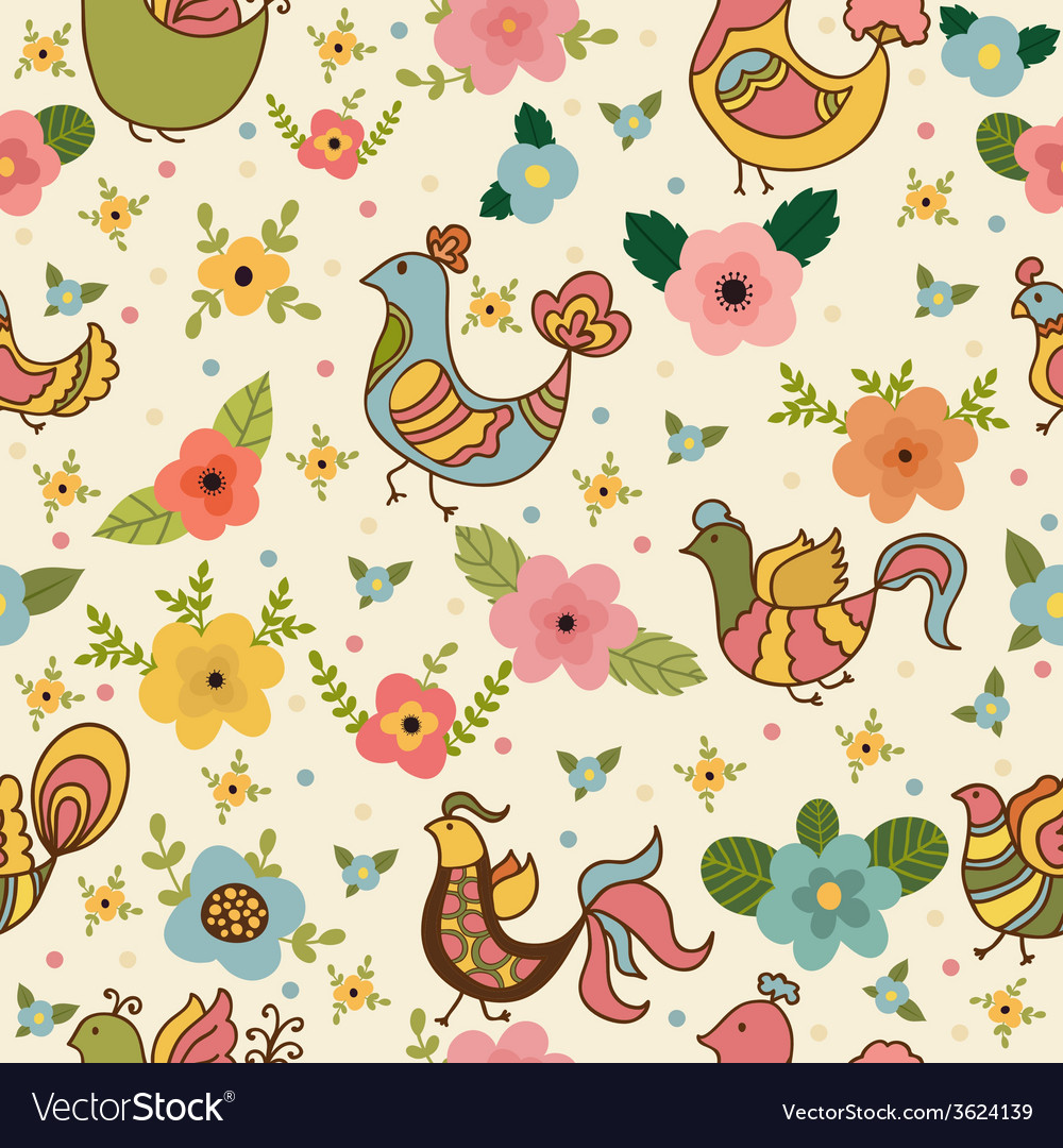 Seamless pattern with colored flowers and birds vector