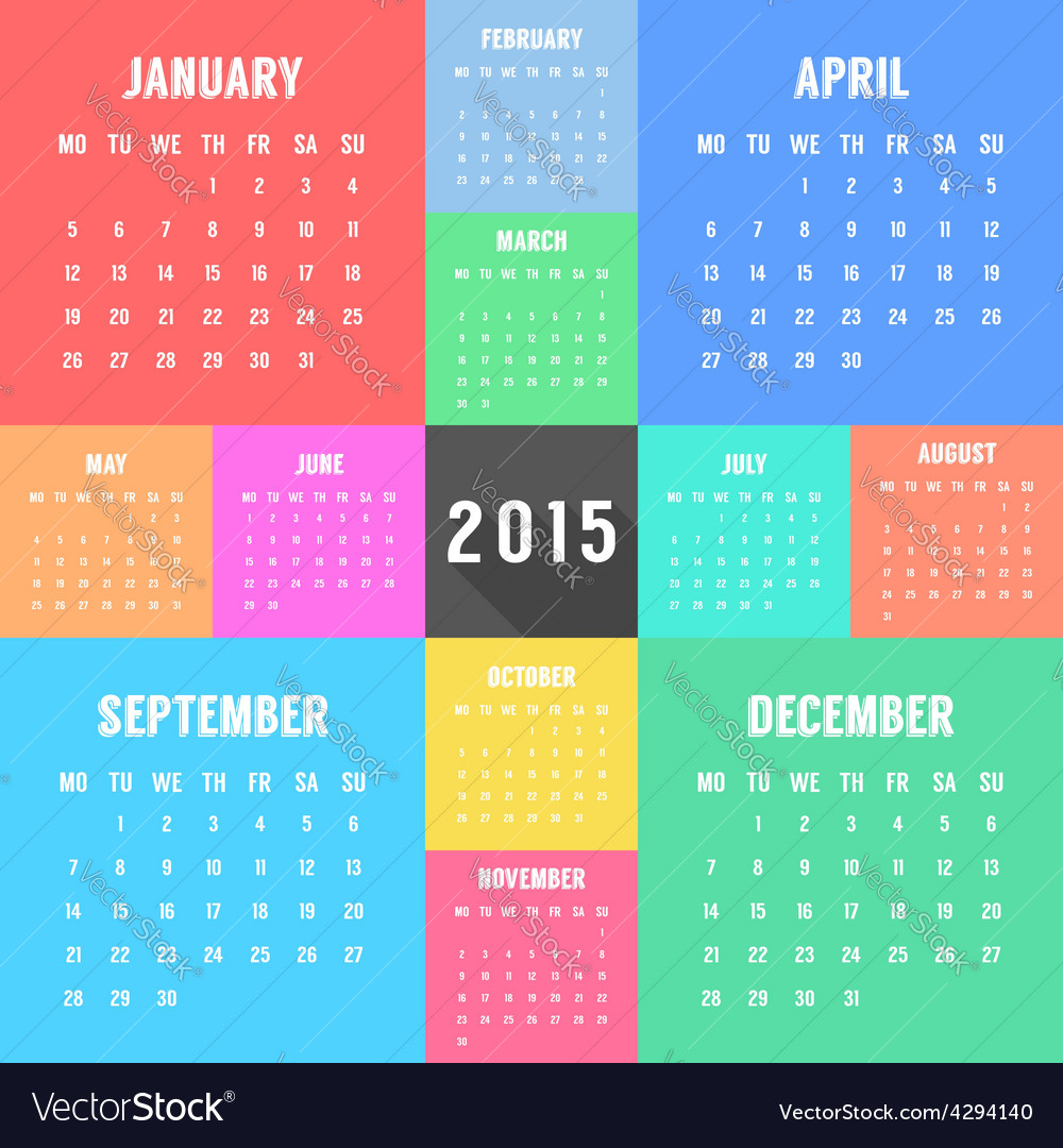 Calendar of 2015 year with different colored vector