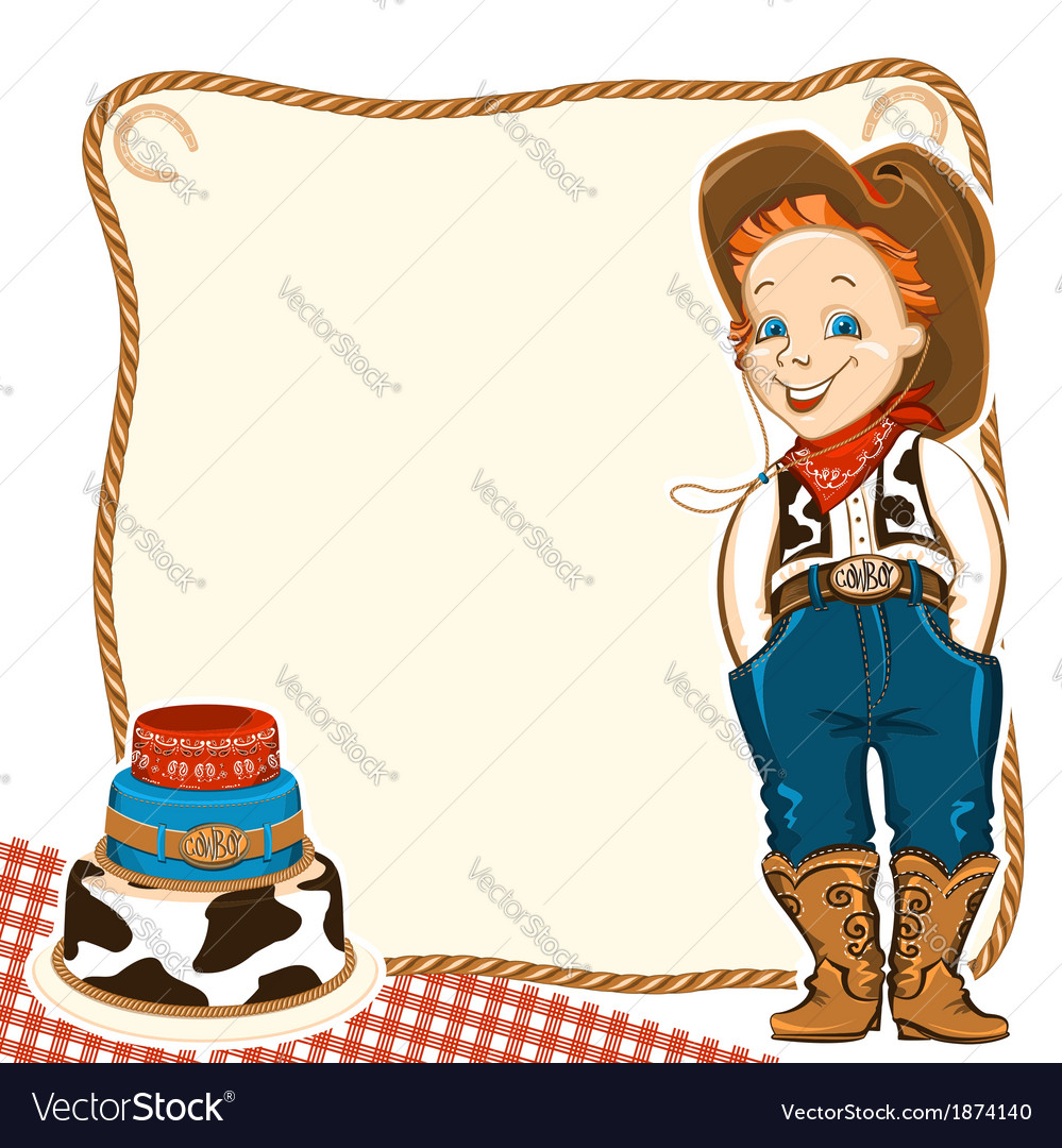 Cowboy child birthday background with cake vector