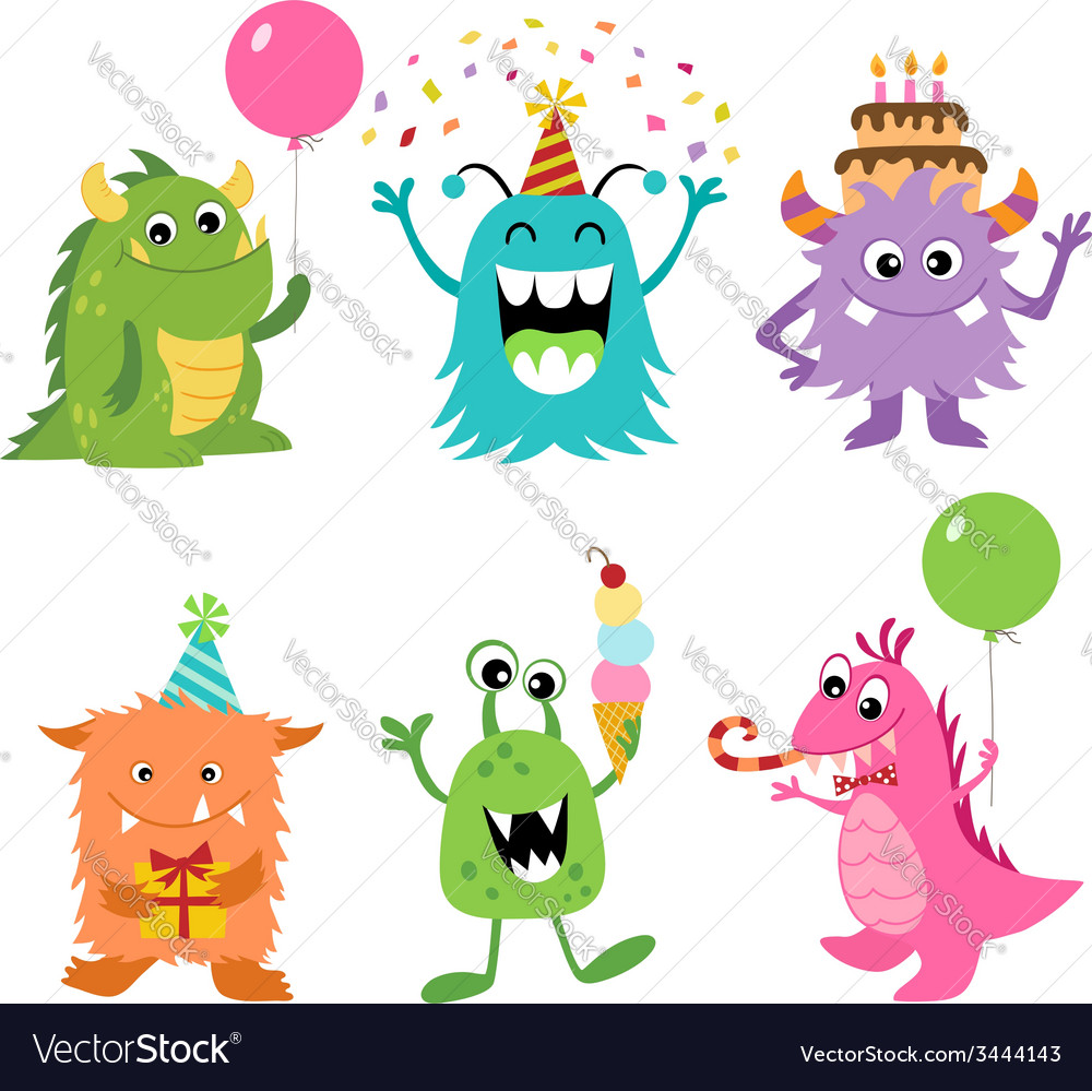 Birthday monsters vector