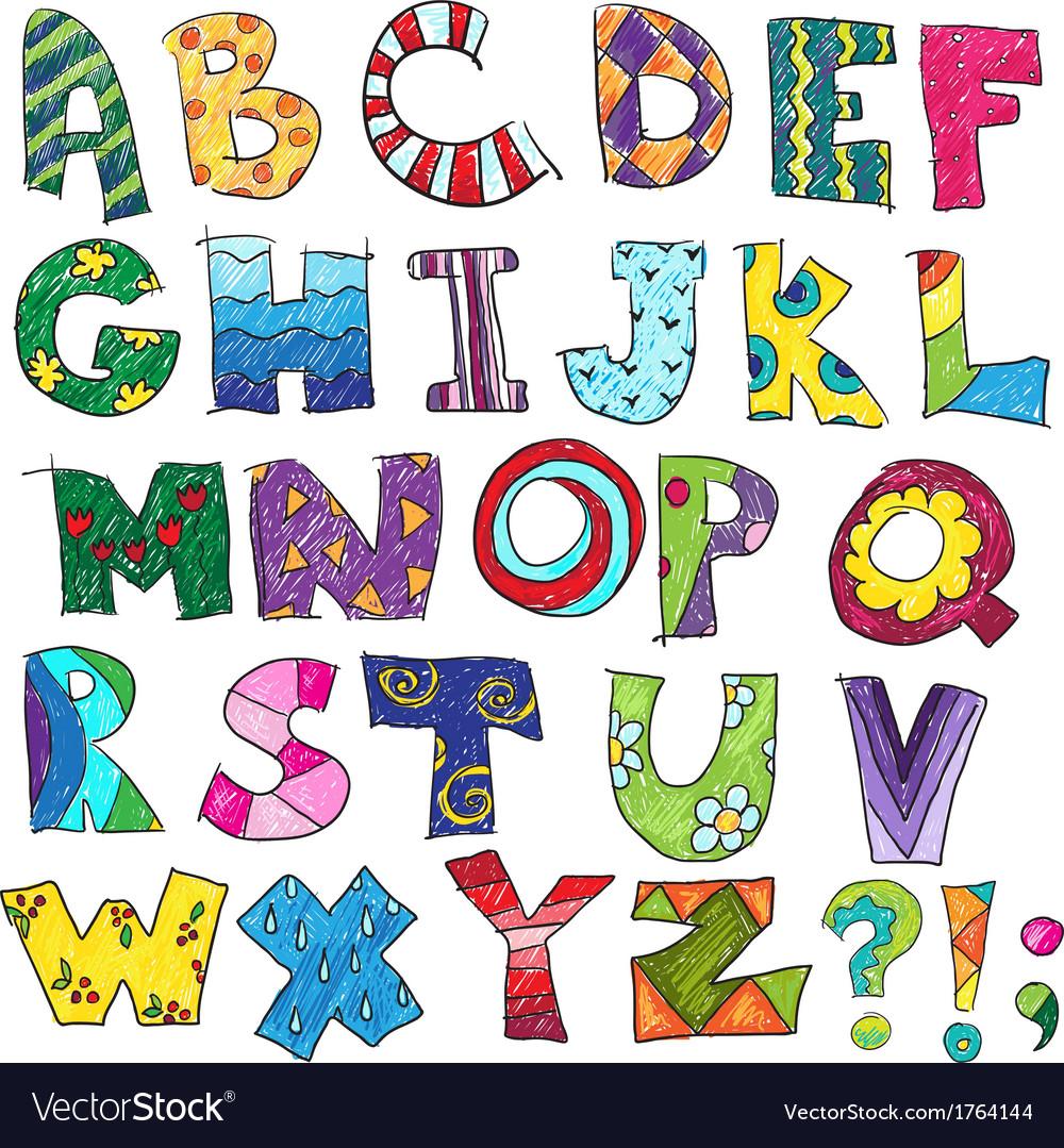 Abc kids funny alphabet vector