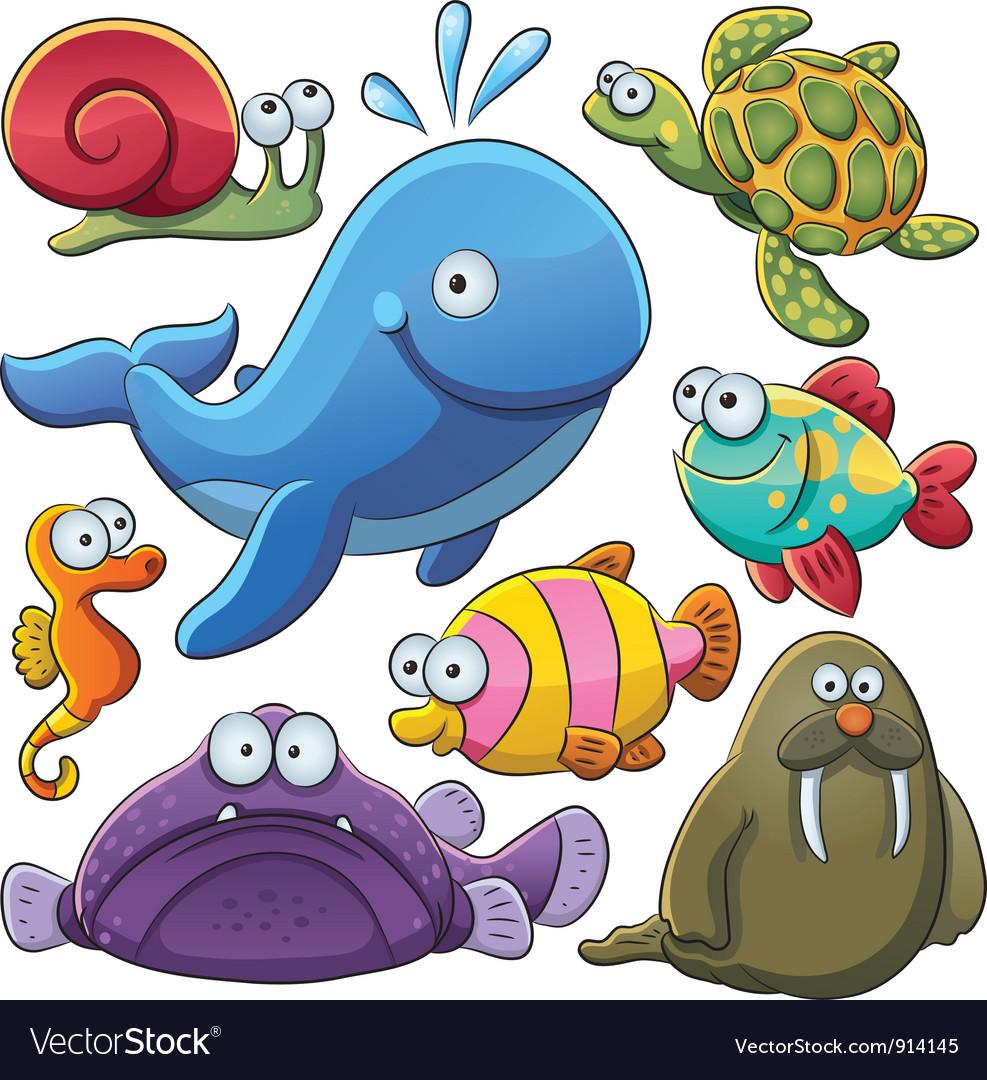 Sea animals collection vector