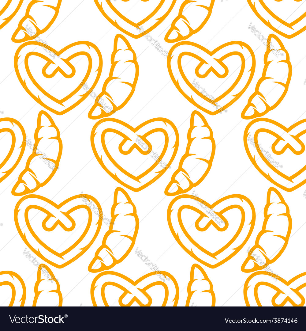 French croissants and german pretzel seamless vector