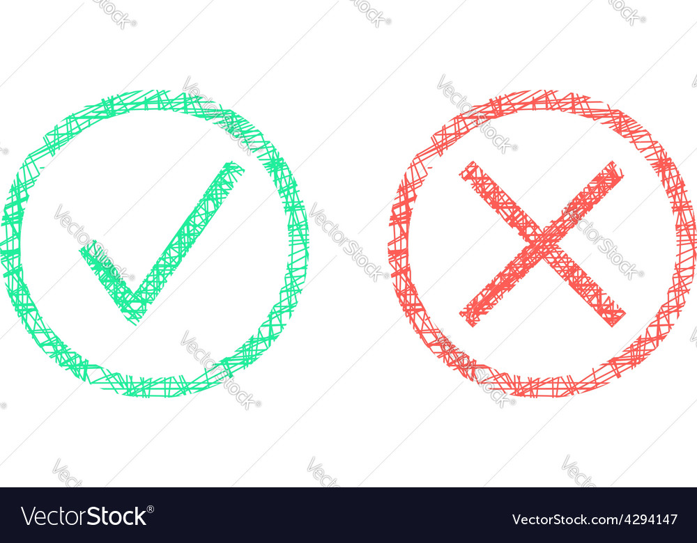 Sketch of check marks in circles vector