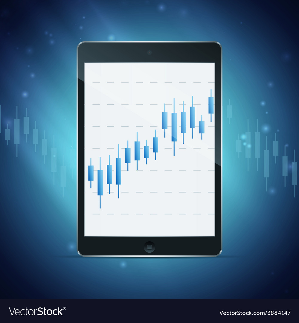 Tablet with forex chart on desktop vector
