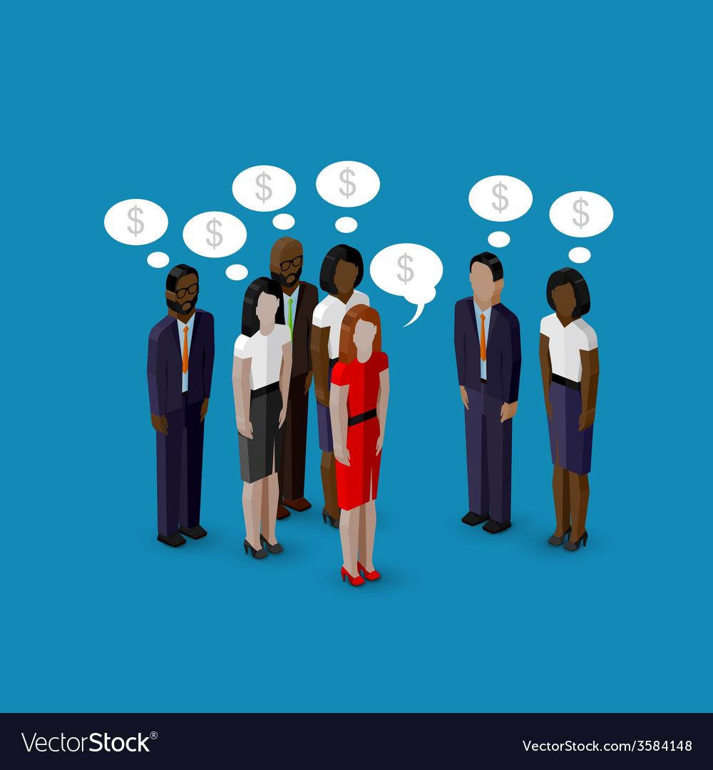 3d isometric cartoon of men and women characters vector