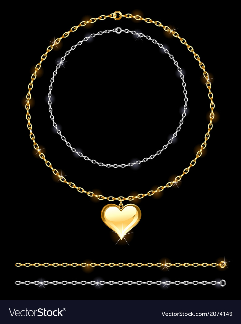 Gold and silver chain vector