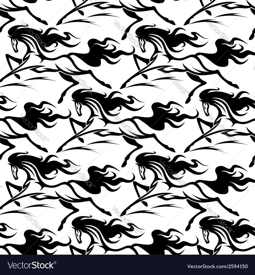Seamless pattern of horse stallions vector