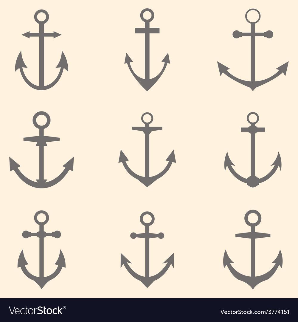 Set of anchors anchor symbols or logo template vector