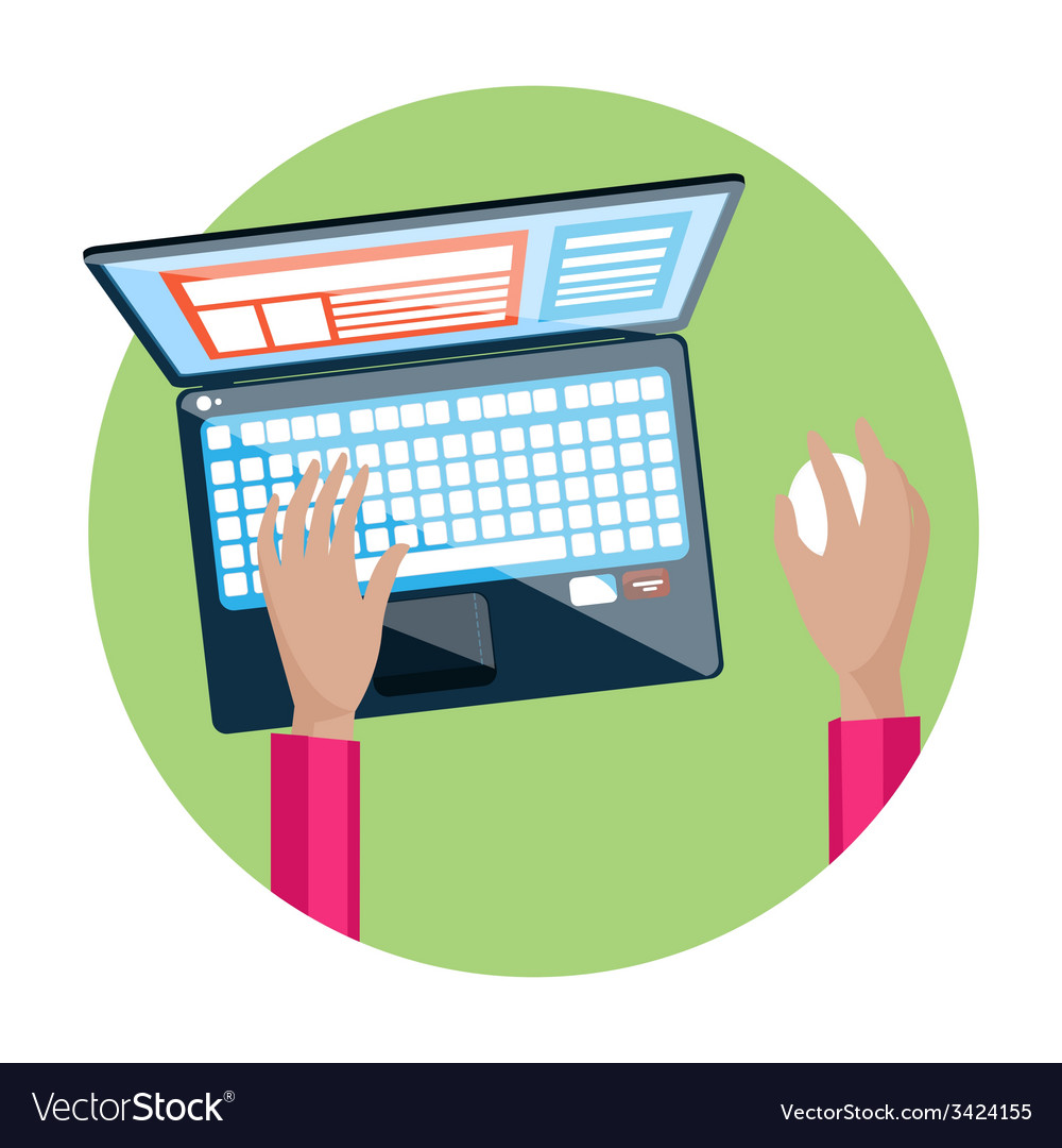 Hand on laptop keyboard with screen monitor vector