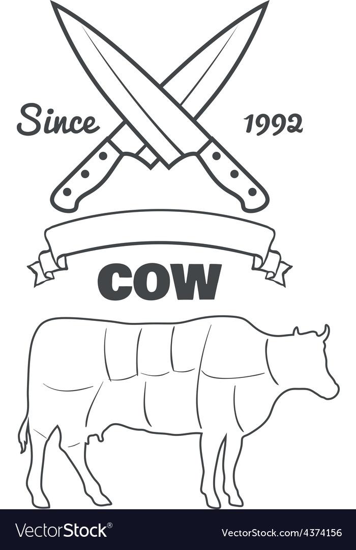 Vintage butcher cuts of cow menu chalk vector