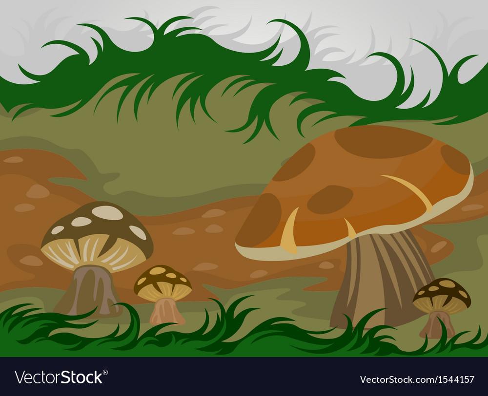 Cartoon mushrooms nature vector