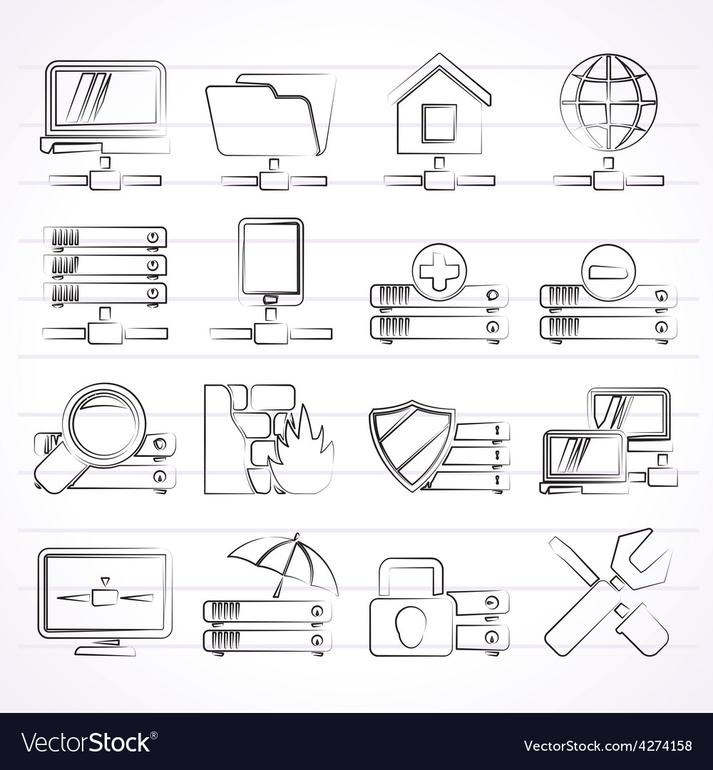 Server hosting and internet icons vector