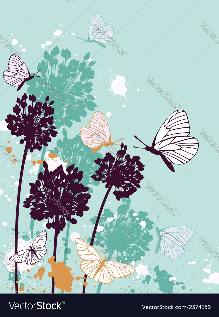 Green decorative floral background vector