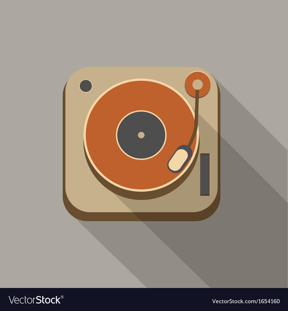 Retro record player icons vector