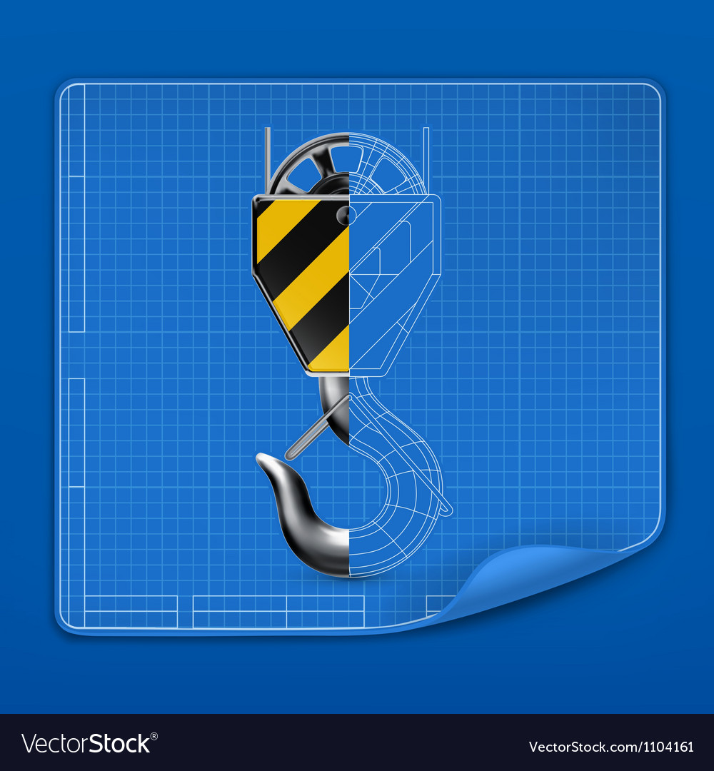 Lifting hook drawing blueprint vector