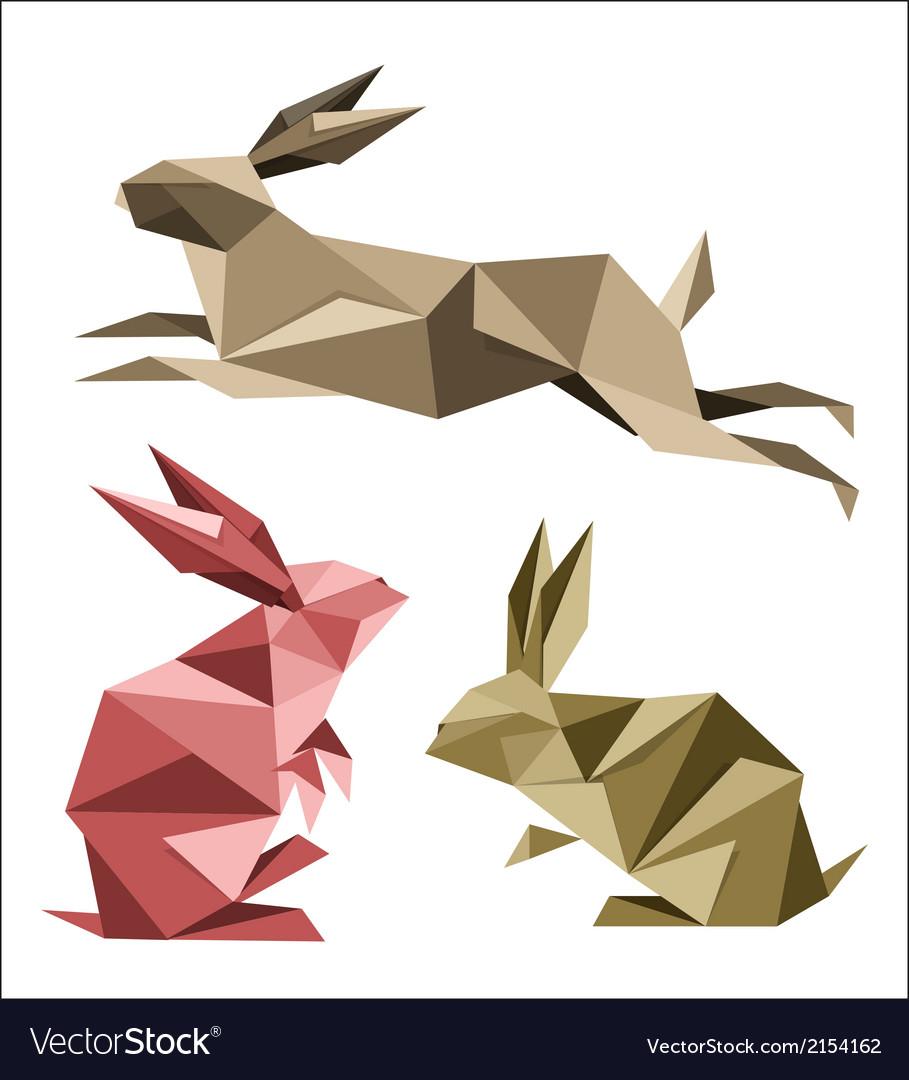 Origami rabbit vector