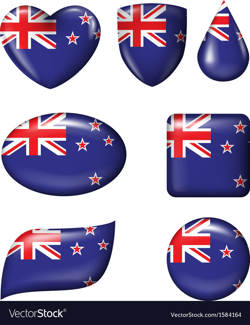 New zealand flag in various shape glossy butto vector