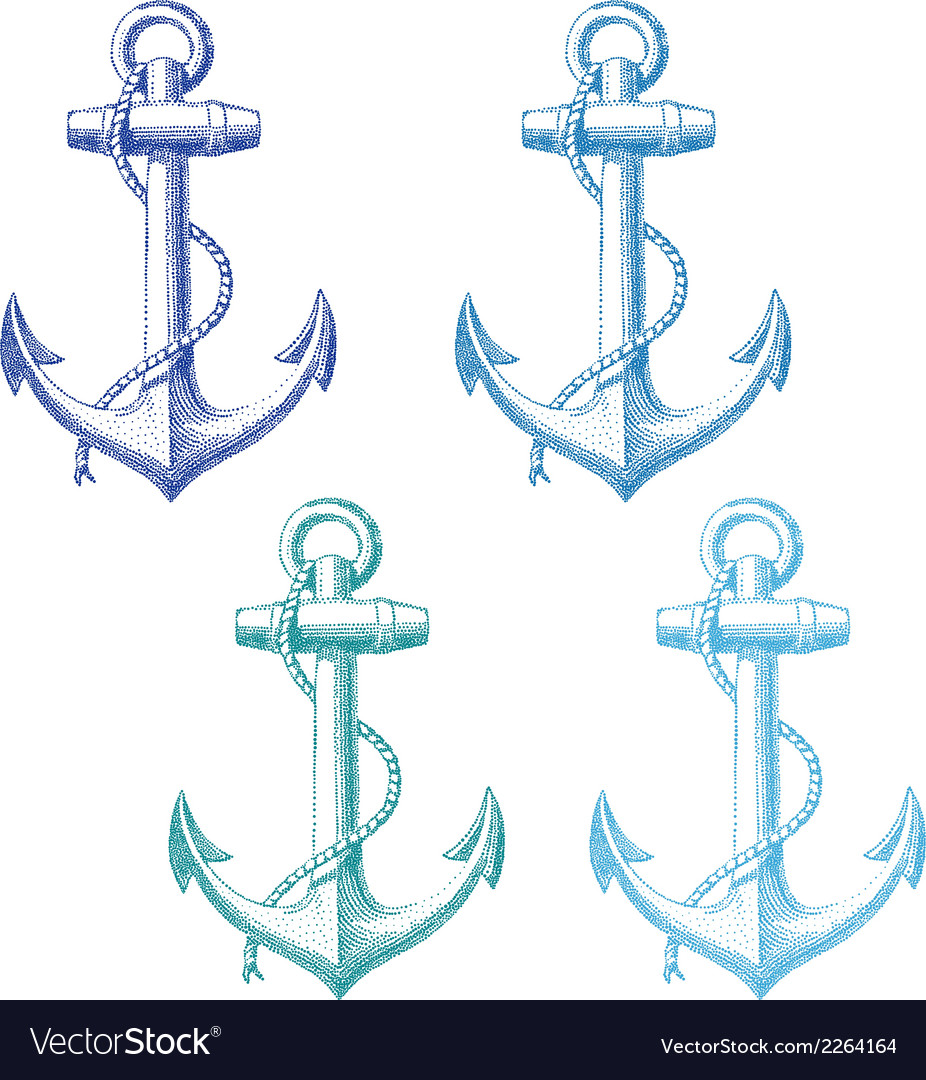 Vintage anchor with rope set vector
