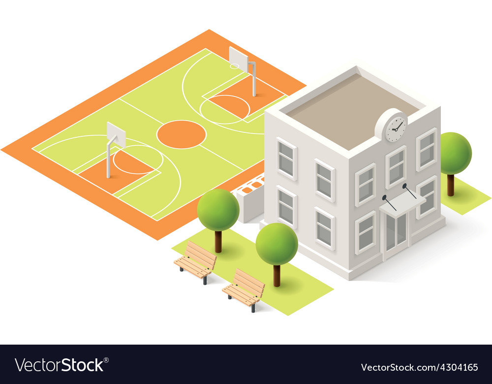 Isometric school vector