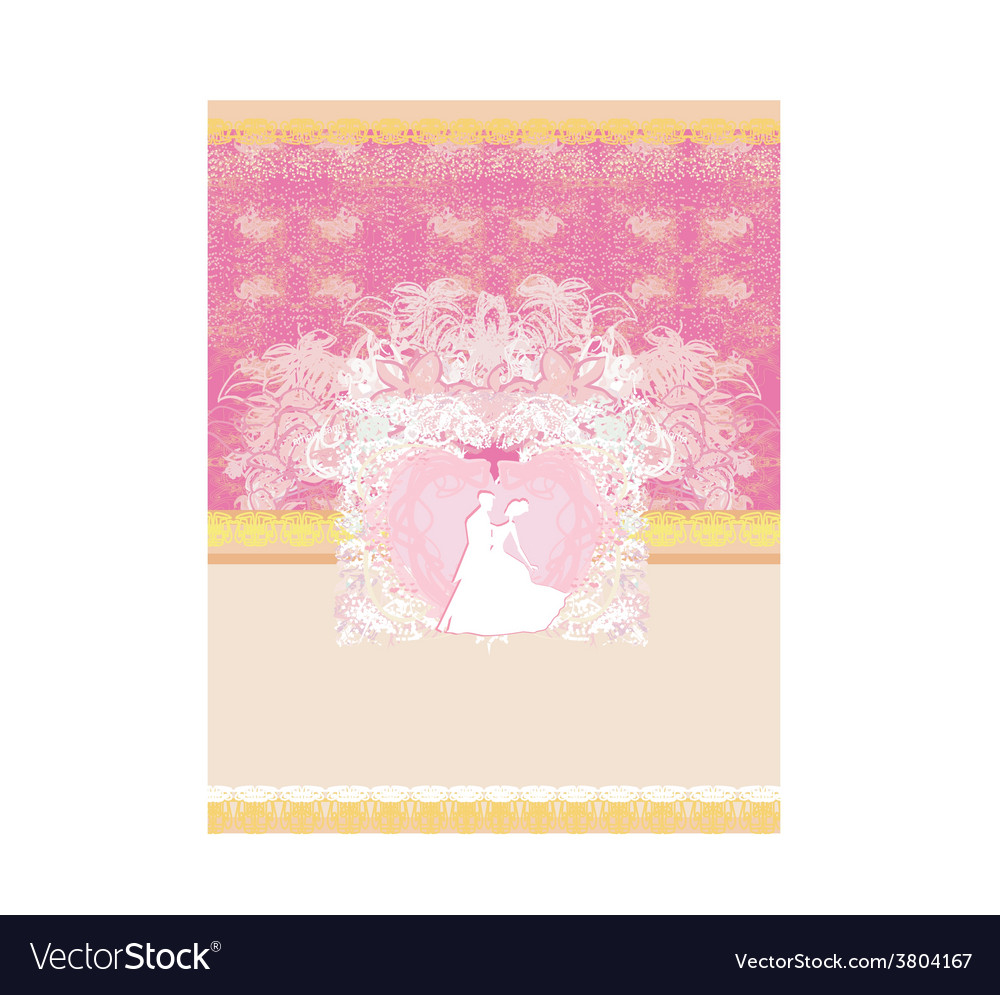 Wedding invitation with bride and groom format vector
