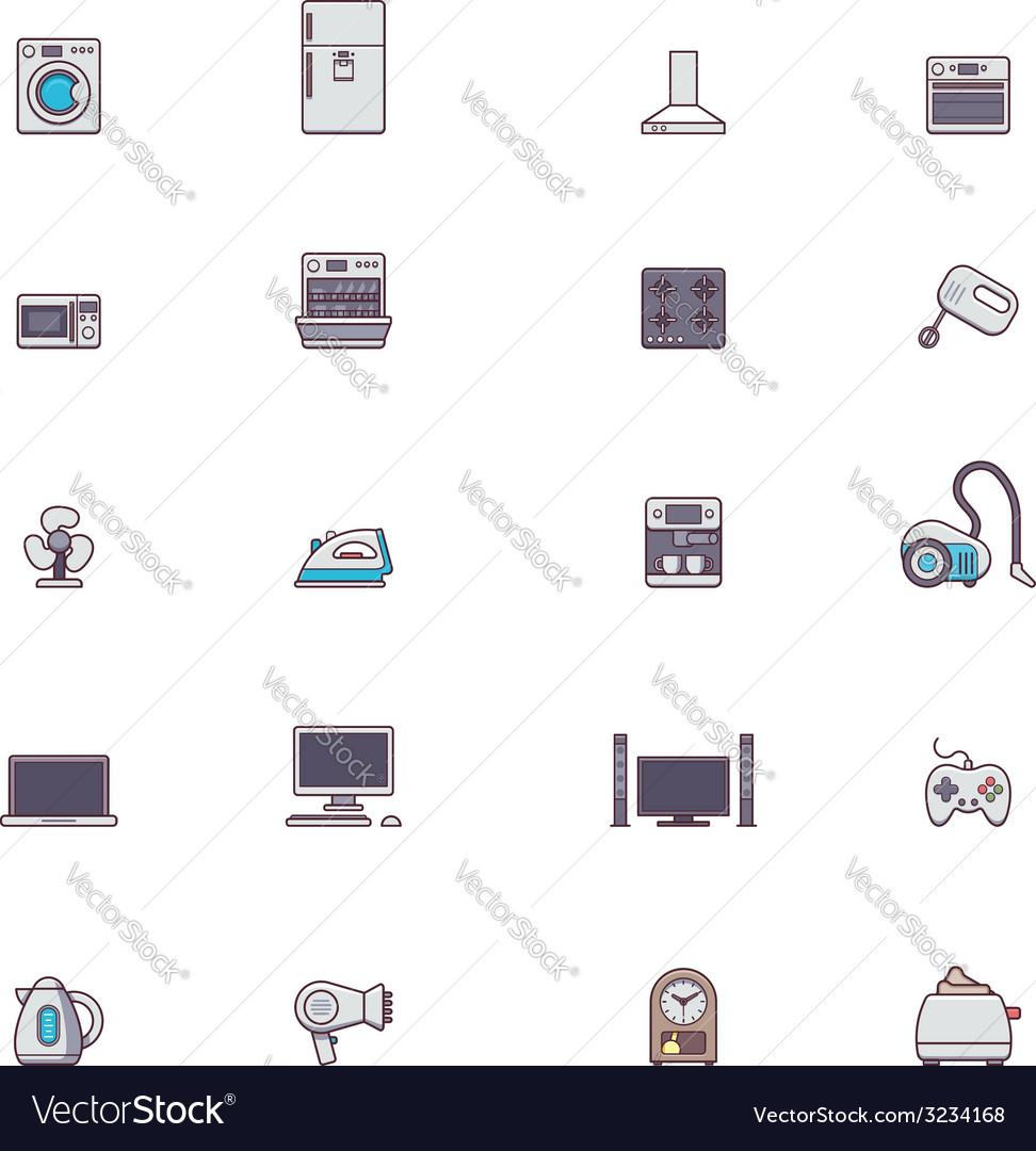 Domestic appliances icon set vector