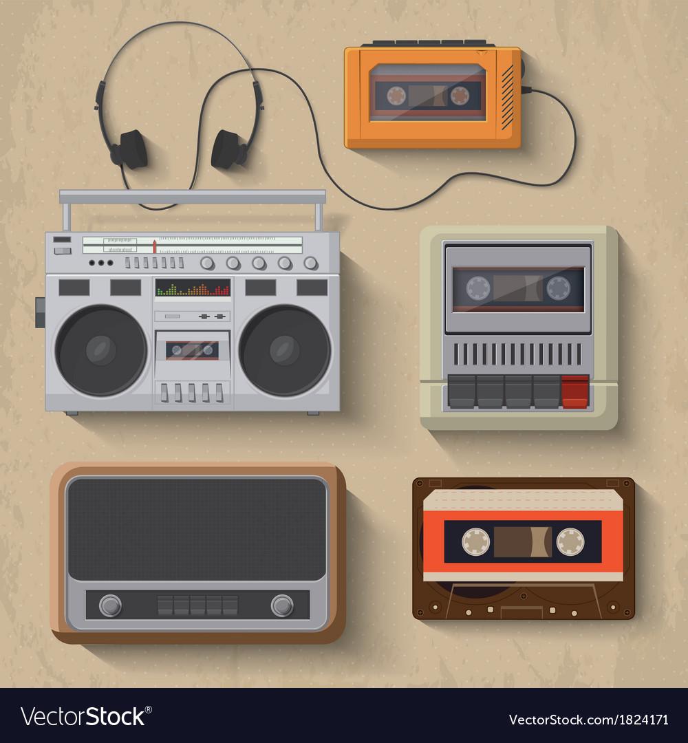 Retro music player icon set vector